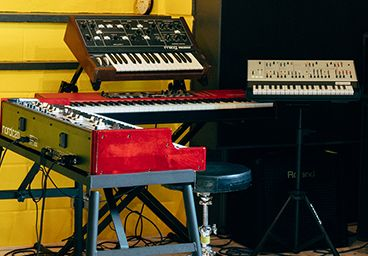 Yamaha, Nord/Leslie, Korg and Moog electric and acoustic keyboards